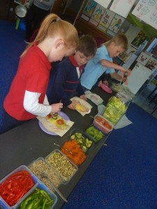 Latrobe Primary School students made healthy wraps for lunch