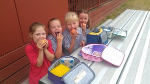 Milawa students enjoyed eating healthy, wrap free lunches on Nude Food Day